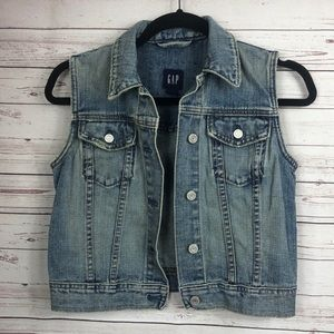 GAP 100% COTTON VINTAGE CROP DENIM VEST SMALL